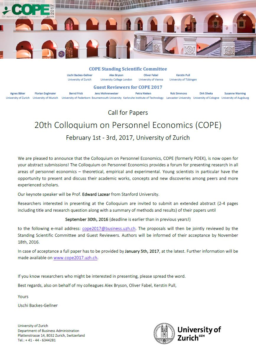COPE Call for Papers 2017